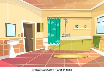 Vector cartoon bathroom interior background template. Modern home, hotel apartment lavatory, restroom. Illustration ceramic furniture bathtub faucet toilet sink shower mirror closet mirror door window