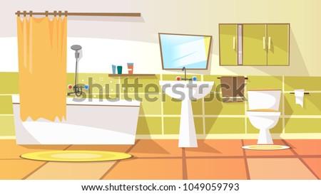 Vector Cartoon Bathroom Interior Background Template Stock ...