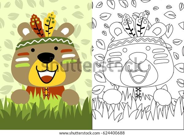 Vector Cartoon Bear Little Indian Coloring Stock Vector (Royalty ...