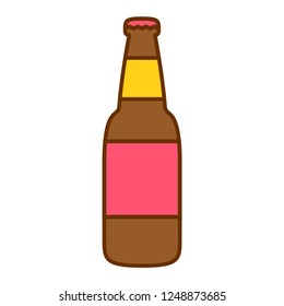Vector Cartoon Beer Bottle Icon Isolated On White Background