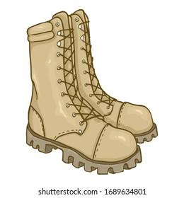 Vector Cartoon Beige Army Boots. Sand Color High Military Shoes.