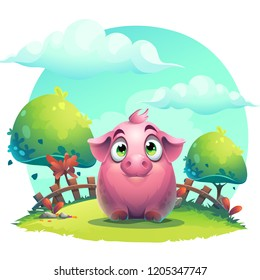 Vector cartoon big pig on a on the lawn background. Bright image to create original video or web games, graphic design, screen savers.