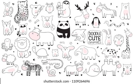 Vector cartoon big set of cute doodle animals. Perfect for postcard, birthday, baby book, children room. Lamb, crocodile, zebra, camel, octopus, whale, shark, wolf, panda, deer, elephant, etc.