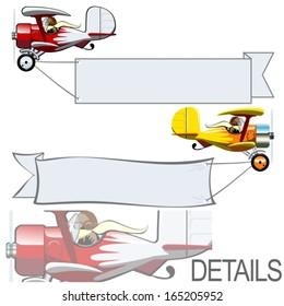 Vector Cartoon Biplane with Bunner