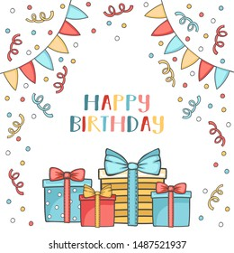 Vector cartoon birthday greeting card with garlands, gift boxes, and confetti. Colorful party background