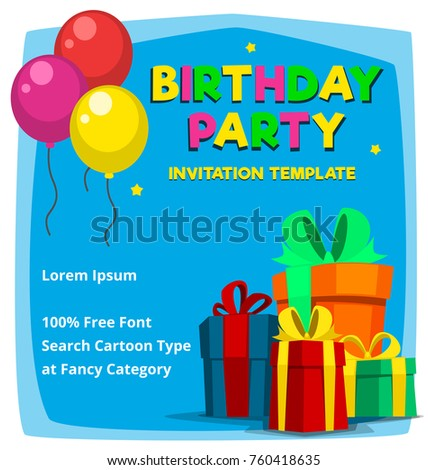 Vector Cartoon Birthday Party Invitation Card Template With Gift Boxes And Balloon Colorful Blue For Boy