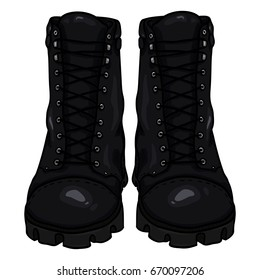 Vector Cartoon Black Army Boots. High Military Shoes. Front View.