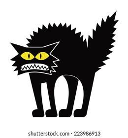 Vector Cartoon Black Cat Isolated On Blank Space