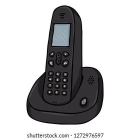 Vector Cartoon Black Cordless Phone. Wireless Home Telephone.