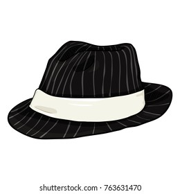 Vector Cartoon Black Fedora Hat with Gray Stripes and White Ribbon. Trilby Hat