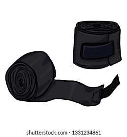 Vector Cartoon Black Rolled Boxing Bandages for Wrist Wrapping