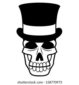 Vector Cartoon Black And White Skull With A Top-Hat