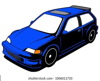 Vector Cartoon Blue Hatchback Car