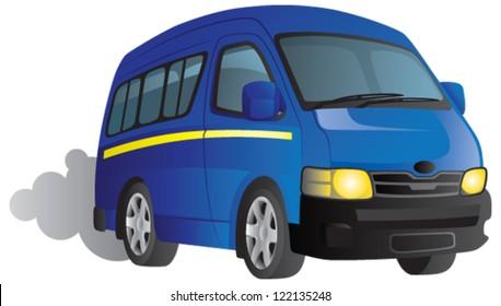 Vector cartoon of a blue minibus taxi