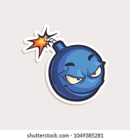 Vector cartoon bomb with burned wick. Hand drawn illustration with funny mascot in comics style. Teen color sticker with character