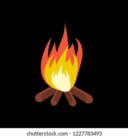 Vector cartoon bonfire. Fire camp. Campfire cartoon illustration