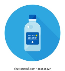 vector cartoon bottle of multi-purpose saline solution / flat style, icon template, circle, packing sticker design / blue on white