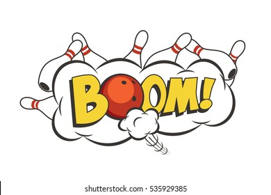 Vector cartoon bowling strike illustration. Moving red bowling ball and skittles.