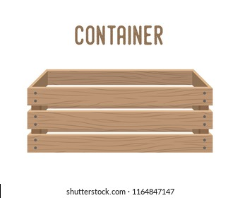 Vector cartoon box, grocery basket, storehouse crate. Empty wooden container for vegetables, products. Delivery, transportation package.