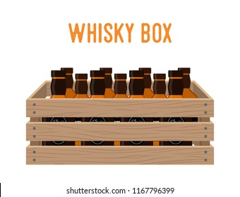 Vector cartoon box with whiskey bottles. Grocery basket with alcohol drink. Storehouse crate with strong beverage. Wooden container with products. Delivery, transportation package.