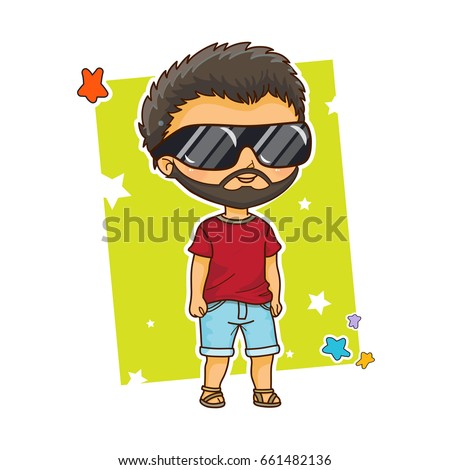 Vector Cartoon Boy Kawaii Anime Chibi Means Big Head Style Dark Haired