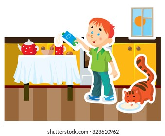 Vector cartoon boy in the kitchen pouring milk into a cup.