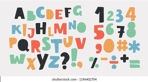 Vector cartoon of Bright alphabet set. Stylish letters and numbers in different modern colors. Cartoon icons. Lowercase and uppercase letters, numbers and sight. Funky letters.