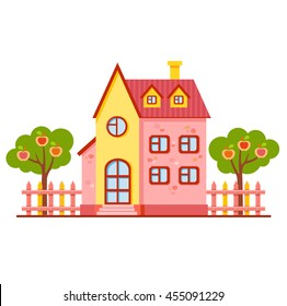 Vector cartoon bright pink and yellow house with fence and two apple trees. Cute building. Child town illustration. Your sweet home. Little garden