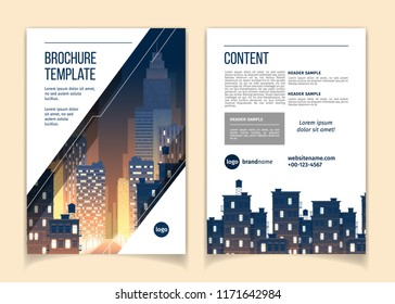 Vector cartoon brochure with cityscape at night, megapolis with modern buildings, skyscrapers, big city with lights. Business leaflet template with space for main content, header, contact information