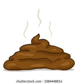 Vector Cartoon Brown Poop. Comics Style Drawn Piece of Shit.