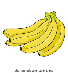 Vector Cartoon Bunch of Yellow Bananas