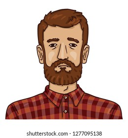 Vector Cartoon Business Avatar - Bearded Man in Checkered Shirt. Male Character Portrait