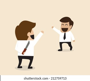 Vector cartoon of Businessman greeting his friend with knife behind the back