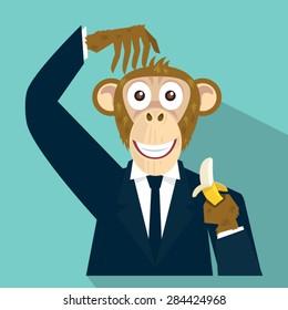 vector cartoon businessman  monkey  head hand holding banana, illustrator