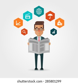 Vector Cartoon Businessman Reading Newspaper