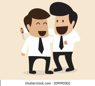 Vector cartoon of Businessman stabbing his friend in the back