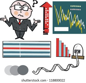 Vector cartoon of businessman and stock market graphs