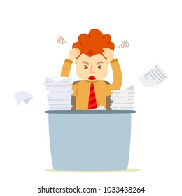 Vector cartoon businessman vary busy and strain,  Document paper pile of work, Depressed and exhausted, Stress or tension, Work hard,  Businessman unsuccessful, Serious, Working failed, Headache