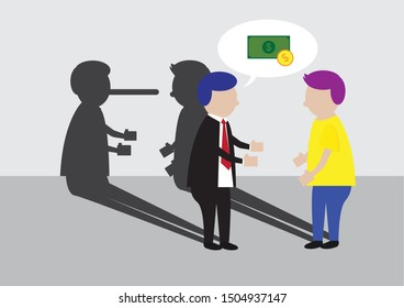 Vector Cartoon of Businessmen Talking with Other Man with Shadow of Pinocchio Long Nose