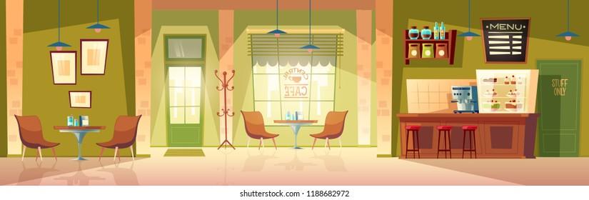 Векторный мультфильм кафе комната - уютный интерьер с кофе-машиной, столом и местами для клиентов. Деревянная мебель для кафетерия, стулья и доску для меню. Фон с дверью, окном и холодильником.