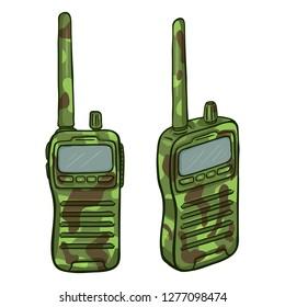 Vector Cartoon Camouflage Walkie-Talkie. Emergency Communication Equipment.