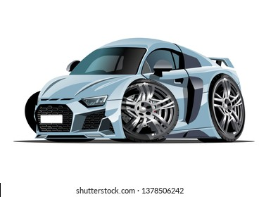 Vector cartoon car. Available eps-10 vector format separated by groups with transparency effects for one-click repaint
