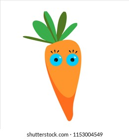 Vector cartoon carrot with blue eyes