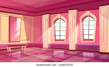 Vector cartoon castle palace ballroom interior in purple color, background with furniture - big windows, mirror with bench. Luxury medieval rich room in fairytale style.