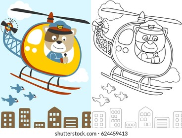 vector cartoon of cat the helicopter pilot, coloring book or page