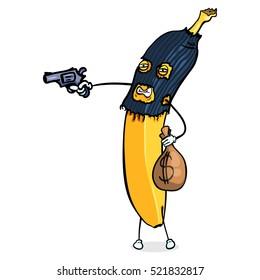 Vector Cartoon Character. Banana Rob the Bank with a Gun.