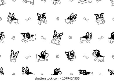 Vector cartoon character boston terrier dog seamless pattern for design.