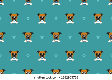 Vector cartoon character boxer dog seamless pattern for design.