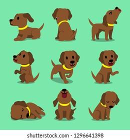 Vector cartoon character brown labrador dog poses for design.