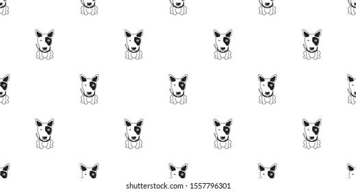 Vector cartoon character bull terrier dog seamless pattern background for design.